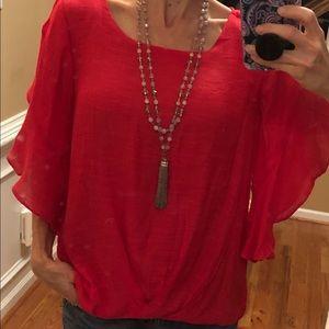 NWT Umgee red ruffle sleeve blouse